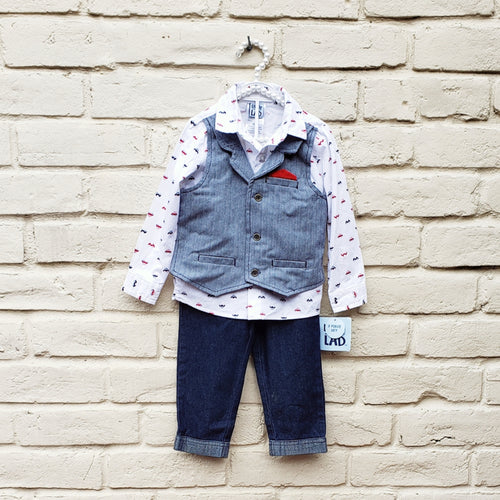 Little Lad Boys 3 Piece Outfit With Vest 24 Months - Gently Used - [variant_title] - Camanda Baby