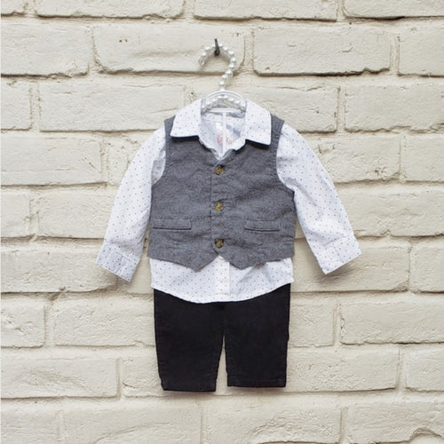 Wonder Nation Boys 3 Piece Outfit Vith Vest 3-6 Months - Gently Used - [variant_title] - Camanda Baby