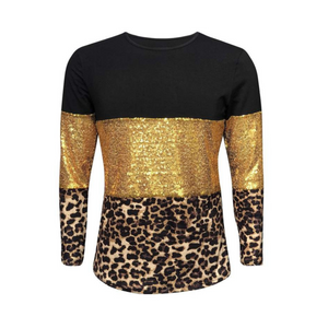 Women's Black, Gold Sequin & Leopard Long Sleeve Sleeve Shirts