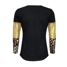 Load image into Gallery viewer, Women's Black, Gold Sequin & Leopard Long Sleeve Sleeve Shirts