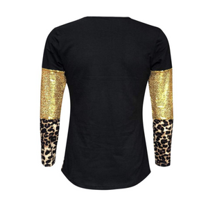 Black, Gold Sequin & Leopard Long Sleeve Sleeve Shirts - Camanda Creations - [variant_title]