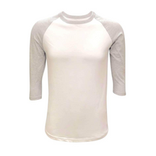 Load image into Gallery viewer, Unisex White & Solid Colored Sleeve Raglan Shirts - Camanda Creations - Small / Grey