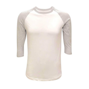 Unisex White & Solid Colored Sleeve Raglan Shirts - Camanda Creations - Small / Grey