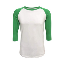 Load image into Gallery viewer, Unisex White & Solid Colored Sleeve Raglan Shirts - Camanda Creations - Small / Green