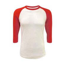 Load image into Gallery viewer, Unisex White & Solid Colored Sleeve Raglan Shirts - Camanda Creations - Small / Red