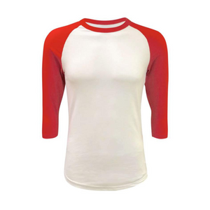 Unisex White & Solid Colored Sleeve Raglan Shirts - Camanda Creations - Small / Red