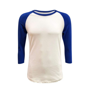 Unisex White & Solid Colored Sleeve Raglan Shirts - Camanda Creations - Small / Blue