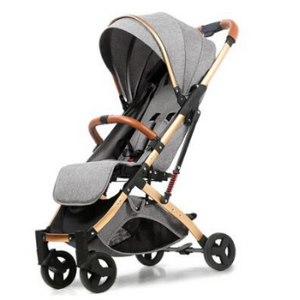 Baby Stroller Lightweight Portable Travel System - Camanda Baby - grey with gold frame