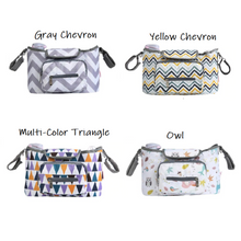 Load image into Gallery viewer, Baby Stroller Organizer & Diaper Bag - Gray chevron, yellow chevron, multicolor triangle, owl