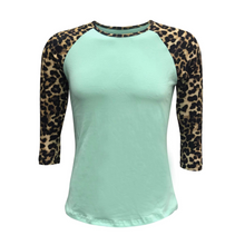 Load image into Gallery viewer, Women's Mint & Leopard Print Sleeve Raglan Made To Order Shirts