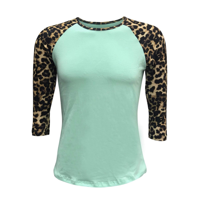 Women's Mint & Leopard Print Sleeve Raglan Made To Order Shirts - Camanda Baby