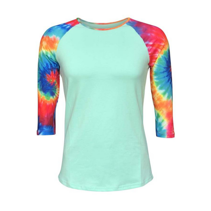 Women's Mint & Tie Dye Print Sleeve Raglan Made To Order Shirts - Camanda Baby