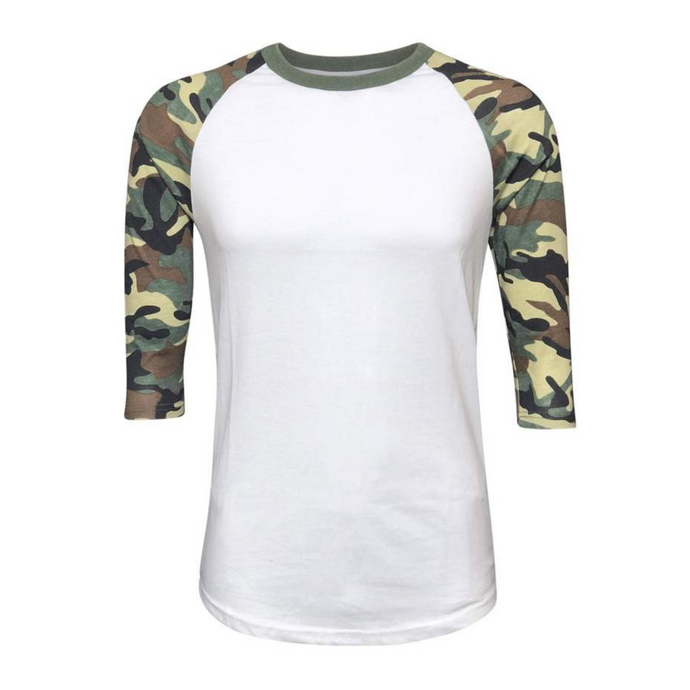 Women's White & Leopard Sleeve Raglan Made To Order Shirts - Camanda Baby