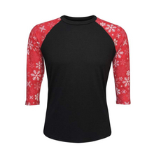 Load image into Gallery viewer, Women's Black & Red Snowflake Print Sleeve Raglan Made To Order Shirts - Camanda Baby