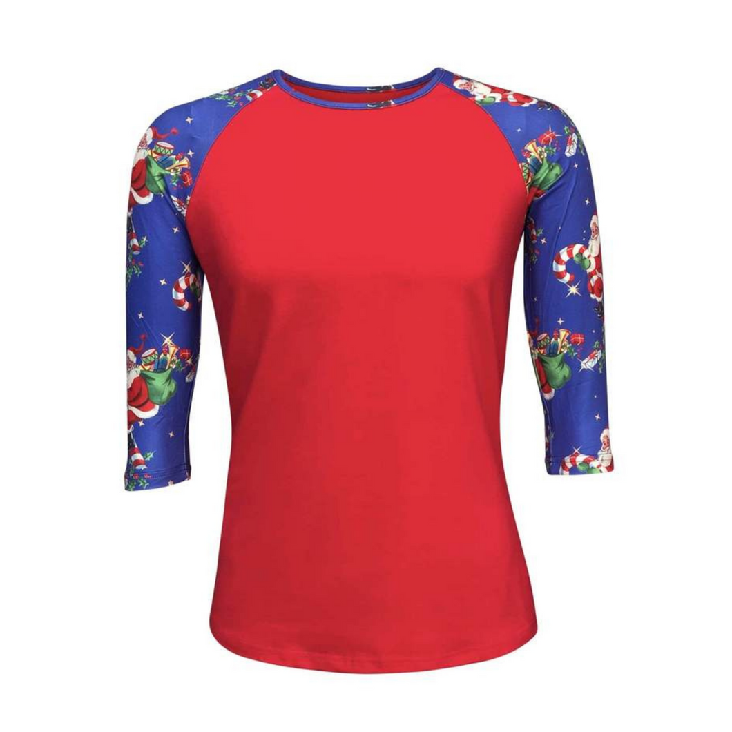 Women's Red & Santa Print Sleeve Raglan Made To Order Shirts - Camanda Baby