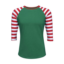 Load image into Gallery viewer, Women's Green & Red Stripe Print Sleeve Raglan Made To Order Shirts - Camanda Baby