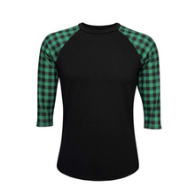 Load image into Gallery viewer, Women's Black & Green Buffalo Plaid Print Sleeve Raglan Made To Order Shirts