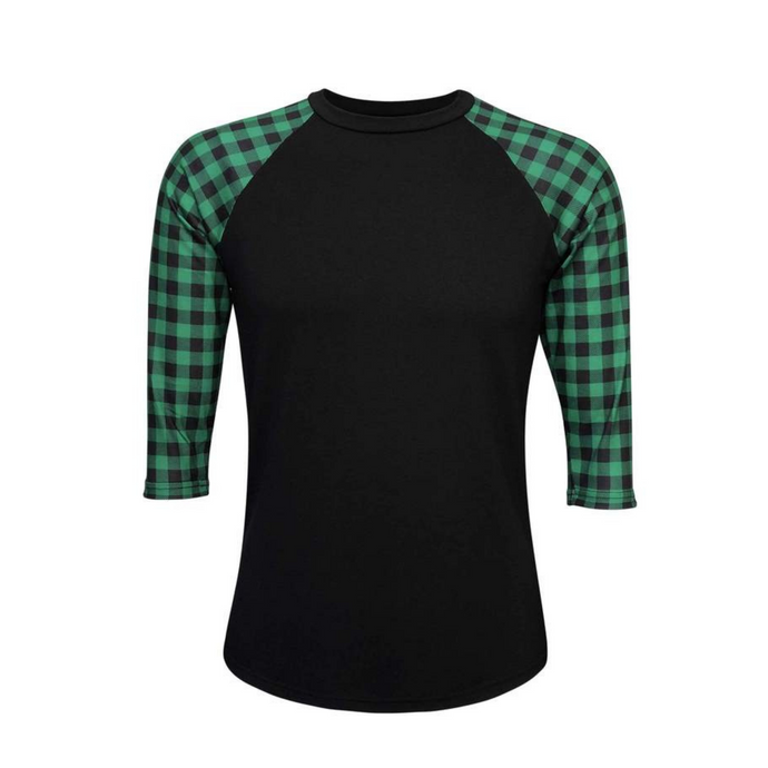 Women's Black & Green Buffalo Plaid Print Sleeve Raglan Made To Order Shirts - Camanda Baby