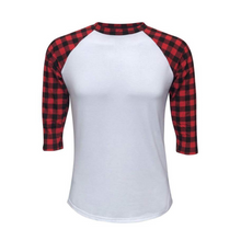 Load image into Gallery viewer, Women's White & Red Buffalo Plaid Print Sleeve Raglan Made To Order Shirts - Camanda Baby