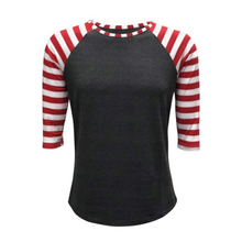 Load image into Gallery viewer, Women's Grey & Red Stripe Print Sleeve Raglan Made To Order Shirts