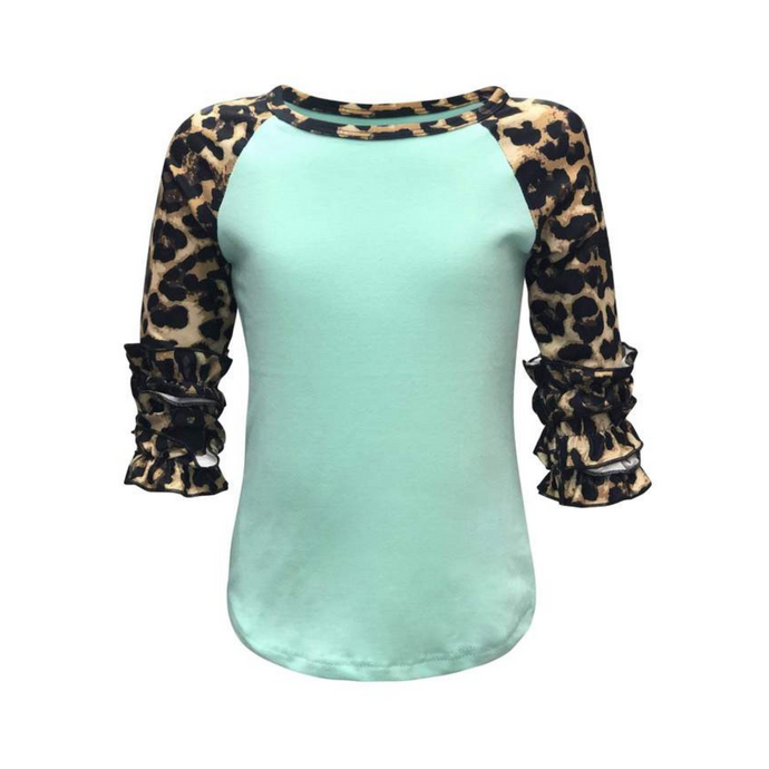 Kids Mint & Leopard Print Sleeve Raglan Shirt - Camanda Creations - 2-3 Years