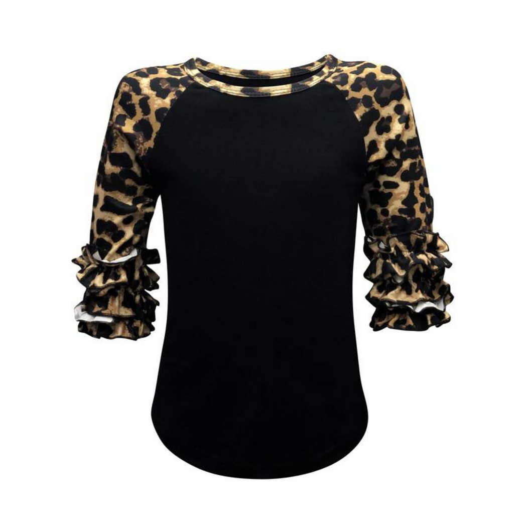 Kids Black & Leopard Print Sleeve Raglan Made To Order Shirts - Camanda Baby