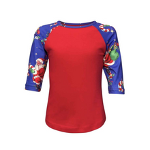 Load image into Gallery viewer, Kids Red & Santa Print Sleeve Raglan Made To Order Shirts