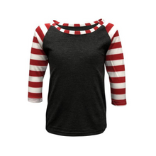 Load image into Gallery viewer, Kids Dark Grey & Red Stripe Print Sleeve Raglan Made To Order Shirts - Camanda Baby