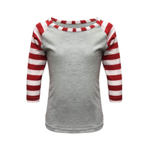 Load image into Gallery viewer, Kids Light Grey & Red Stripe Print Sleeve Raglan Made To Order Shirts - Camanda Baby