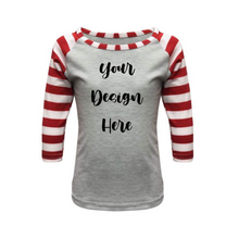 Load image into Gallery viewer, Kids Light Grey & Red Stripe Print Sleeve Raglan Shirt