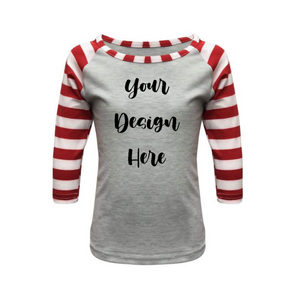 Kids Light Grey & Red Stripe Print Sleeve Raglan Shirt