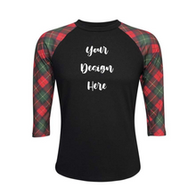 Load image into Gallery viewer, Black & Plaid Print Sleeve Raglan Shirt - Camanda Creations - [variant_title]