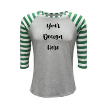 Load image into Gallery viewer, Light Grey & Green Stripe Print Sleeve Raglan Shirt - Camanda Creations - [variant_title]