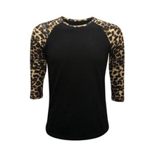 Load image into Gallery viewer, Black & Leopard Sleeve Raglan Shirt - Camanda Creations - Small