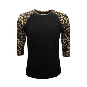 Black & Leopard Sleeve Raglan Shirt - Camanda Creations - Small