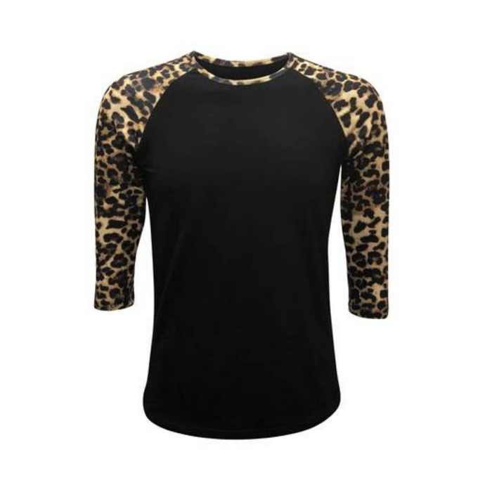 Women's Black & Leopard Sleeve Raglan Made To Order Shirts - Camanda Baby
