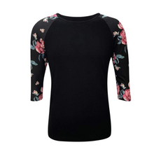 Load image into Gallery viewer, Women's Black & Floral Print Sleeve Raglan Made To Order Shirts