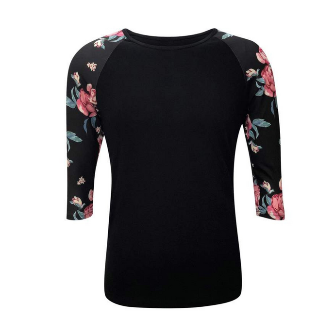 Women's Black & Floral Print Sleeve Raglan Made To Order Shirts - Camanda Baby