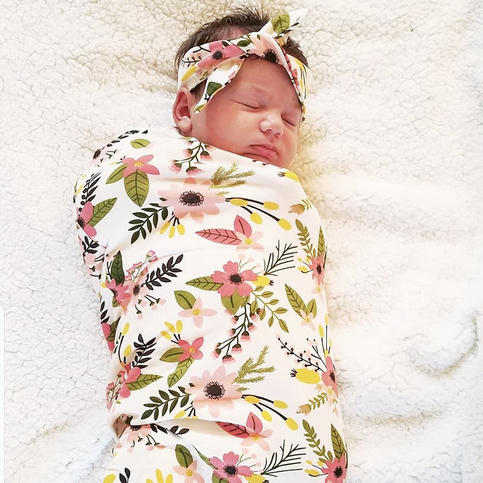 Newborn Swaddle Sack Set With Matching Headband - Camanda Baby - [variant_title]