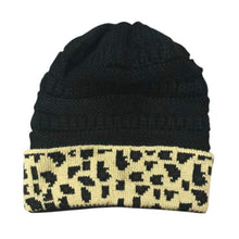 Load image into Gallery viewer, Leopard Print Black Beanie With Pompom - Camanda Baby