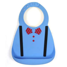 Load image into Gallery viewer, Waterproof Silicone Baby Food-Grade Bibs - Light Blue Bowtie - Camanda Baby