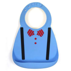 Waterproof Silicone Baby Food-Grade Bibs - Light Blue Bowtie - Camanda Baby