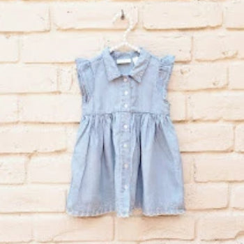 First Impressions Girls Lyocell Denim Dress White Embroidered Trim 18 Months - Gently Used - [variant_title] - Camanda Baby