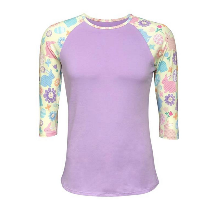 Purple Easter Print Raglan Shirt - Camanda Creations - Small
