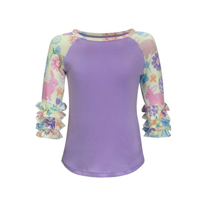 Kids Purple Easter Print Raglan Shirt - Camanda Creations - 2-3 Years