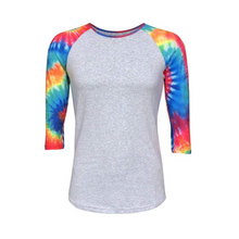 Load image into Gallery viewer, Grey & Tie Dye Print Sleeve Raglan Shirt - Camanda Creations - Small
