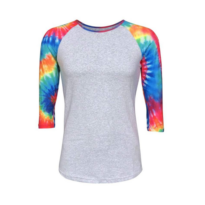 Grey & Tie Dye Print Sleeve Raglan Shirt - Camanda Creations - Small