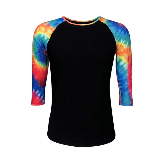 Black & Tie Dye Print Sleeve Raglan Shirt - Camanda Creations - Small