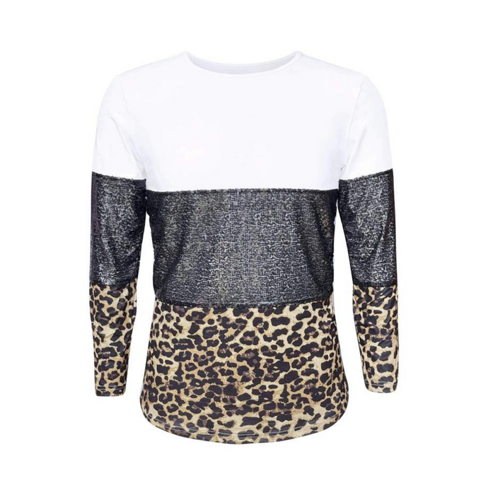 Color Block Black Sequin & Leopard Long Sleeve Sleeve Shirts