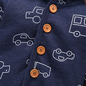 Baby Boy Matching Hoodie, Pants & Onesie Bodysuit Sets - Camanda Baby - blue car print with brown button hoodie close up